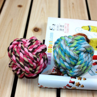 Wholesale 100 cotton carrick bend tooth cleaning ball pet toy cotton rope toy multicolour rope knitted ball odontoprisis toys