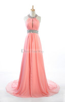 Cheap 2014 Real Image Zuhair Murad Halter Evening Dresses Watermelon Evening Bridal Gowns Chiffon Sexy Crystals Trimmed Prom Party Dress D040