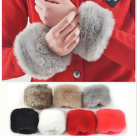 Wholesale Hot sale women s wristlets gloves fur oversleeves rabbit fur big sleeves fingerless glove