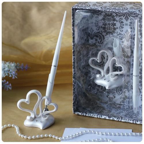 discount double hearts design wedding pen set in white resin for wedding decoration party. Black Bedroom Furniture Sets. Home Design Ideas