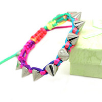 Wholesale Multicolor bracelet punk rivet woven friendship bracelet