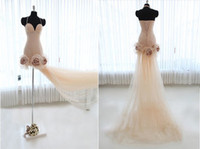 Wholesale Actual Image Spaghetti Strap Pink Lovely With Long Train Handmade Flower Party Dress Cocktail Dress Red Carpet