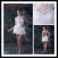 feather cocktail dress - 2013 Sexy Short Feather Cocktail Dresses Keyhole White Lace A Line Bateau Party Dresses HW020
