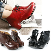 Wholesale New Fashion Luxury Women Vintage Medium Heels Casual Shoes Lace Up Ankle Boots