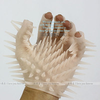 Halloween Adult Games China (Mainland) free shipping Wild Silicone thorn glove Massager Sex Toy stimulator sex toy adult toy lb241