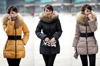 Wholesale 3 colors Generous Hooded Down Jacket Coat With Big Fur Collar Belt Slim Puffer Outwear