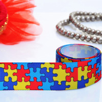 Wholesale Autism inch MM Printed Grosgrain Ribbon Polyester Diy Accessories YARDS