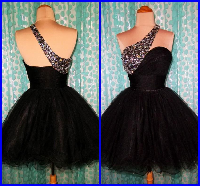Sexy Black Short Cocktail Dresses One Shoulder Beaded Rhinestone ...