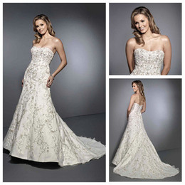 Wholesale Magnificently Sweetheart Embriodery and Beaded A line Long New Model Wedding Dress