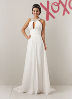 Reference Images Chiffon Beads Beaded Grecian collar Ruched Chiffon Buttons A-line Gown 2012 Wedding Dress 5952 D02
