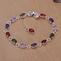 Wholesale Fashion Jewelry Silver Plated Multicolor Gemstone CZ Zircon Crystal Bracelet Bangles YS258