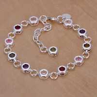 Wholesale Fashion Jewelry Silver Plated Multicolor Gemstone CZ Zircon Crystal Bracelet Bangles YS259