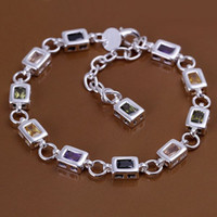 Wholesale Fashion Jewelry Silver Plated Multicolor Gemstone CZ Zircon Crystal Bracelet Bangles YS261