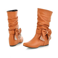 Wholesale 2012 new arrive fashion Big size BIG Rhinestone PU boots Flat Bow women s shoes
