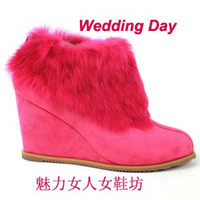 Wholesale new model wedge heel ankle boot slide fastener snow boots for women A017