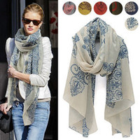 Wholesale women totem scarves womens floral scarf fashion women s spring autumn totem Blue and white porcelain printing scarves wraps scarf
