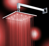 Wholesale 8 quot LED Bathroom Faucet Rain Shower head Chrome DH