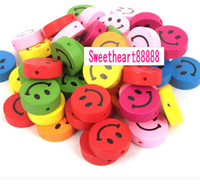 Wholesale MIC Mix Color Wood Smiley Face Cartoons Charms Pendant Accessory Jewelry DIY
