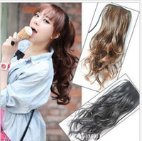 Wholesale 35CM PonyTail Horsetail Clip In Hair Extensions Pony Tail Curls Horsetail Hair Piece With Straps A0020