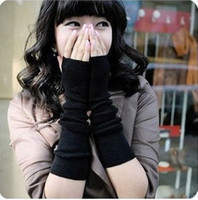 Wholesale Hot New Lovely winter warm female knitting wool half mittens Arm Warmer Fingerless Long Gloves