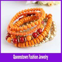 Bohemian Women's Party Fashion Bracelet 7pcs Set Multilayer Bracelet WOOD Beads Rhinestone Bracelets