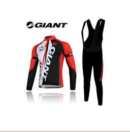 Cycling Clothing 2012 New red white GIANT Long Sleeve Cycling Jerseys + black BIB braces Pants Set giant bike cycling pants free shipping