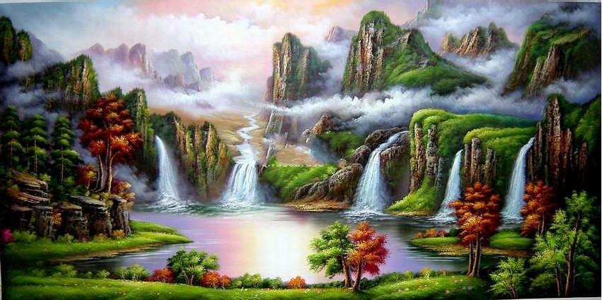 Feng Shui Oil Painting Canvas Mountain Fortune Basin Green