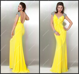 Wholesale Long Sleeve Short Dress Uk - Yellow Long Prom Gown 2013 New Style Beaded Cap Sleeves Chiffon Open Back Designer Prom Dresses UK