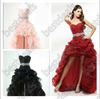 Wholesale 2013 Sexy Prom Dresses Strapless Red Black Pink High Low Organza Quinceanera Dresses P1630