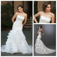 Terrific White Organza Beaded Strapless Long Mermaid Style W...