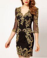 Wholesale 2015 Fashion Dresses DP276 Elegant Sexy Deep V Neck golden embroidery lace slim women s dresses