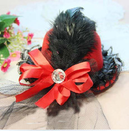 Wholesale free ship custom Bridal headwear mini hat hair accessories wedding hat Christmas gifts red