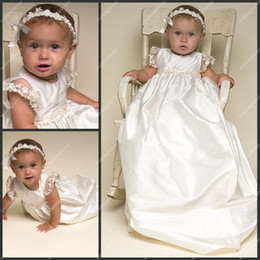 Wholesale Lace Sleeve Babies First Communion Dresses A Line Floor Length Taffeta Pretty Christening Gowns