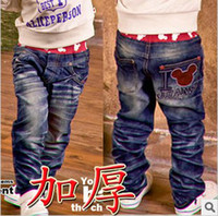 Wholesale Baby Boy s Straight cut Jeans Kids cotton Denim Trousers Ruffle Korean Mickey Pants