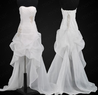 Wholesale 2013 New Sexy Sweetheart Strapless White Organza Mini Short Hi Lo Summer Beach Wedding Dresses