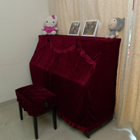 Wholesale The piano sets gold velvet cloth piano cover min curtain style piano the full hood stool cover
