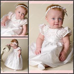 Wholesale Ankle Length Christening Dresses A Line Taffeta Appliqued Short Sleeve Babies First Communion Dress