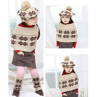 Wholesale 5sets Baby Girl Snowflake Knitted Ball Hat Caps Pullover Scarf Wraps Leg Warmer Socks