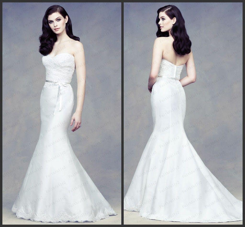 Strapless Sweetheart Mermaid Satin Wedding Dresses Lace