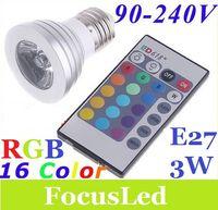 Wholesale Energy saving W GU10 E27 RGB LED Bulb Lamp light Color changing IR Remote