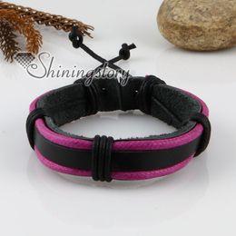 genuine leather wristbands adjustable drawstring warp bracelets for men and women