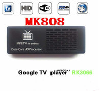 Wholesale MK808 Google Android TV box android Mini PC Dual core A9 RK3066 G G Wifi HDMI