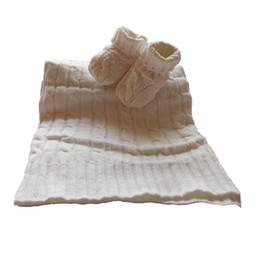 Wholesale 2pcs set Cotton sweater knit classical cable baby blanket and bootie