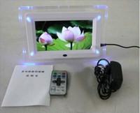 achat en gros de cadre photo numérique vidéo-7 pouces LCD Cadre Photo Numérique flash LED lumière Avec MP3 MP4 Player cadeau spécial