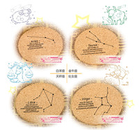 Wholesale 12 Constellations European Cork Coffee Cup Coasters Non slip Insulation Pad Mats Bowl Disc Placemats