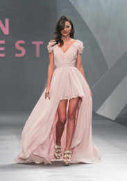 Wholesale Sexy Evening Celebrity Dresses Mini Miranda Kerr hi low Chiffon V Neck Cap Sleeves Prom Dresses C21