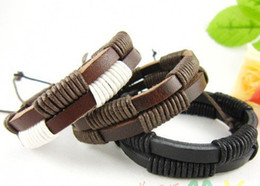 Wholesale New Arrival Fashion Real Leather braided Bracelets Jewelry Couple Wristband Personalized
