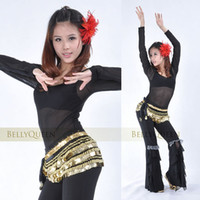 Belly Dancing Ruffled Cotton Belly dance top tees costume dancing wear Tribal transparent round neck bottoming long-sleeved T-shi