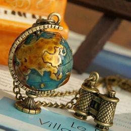 New arrival fashion vintage telescope travel globe pendant necklace women jewelry New xmas gifts stock 20pcs