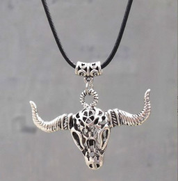 Leather Cord Tibetan Silver Hollow Bull Skull Pendant Necklace Ethnic Vintage Personality factory price Men New